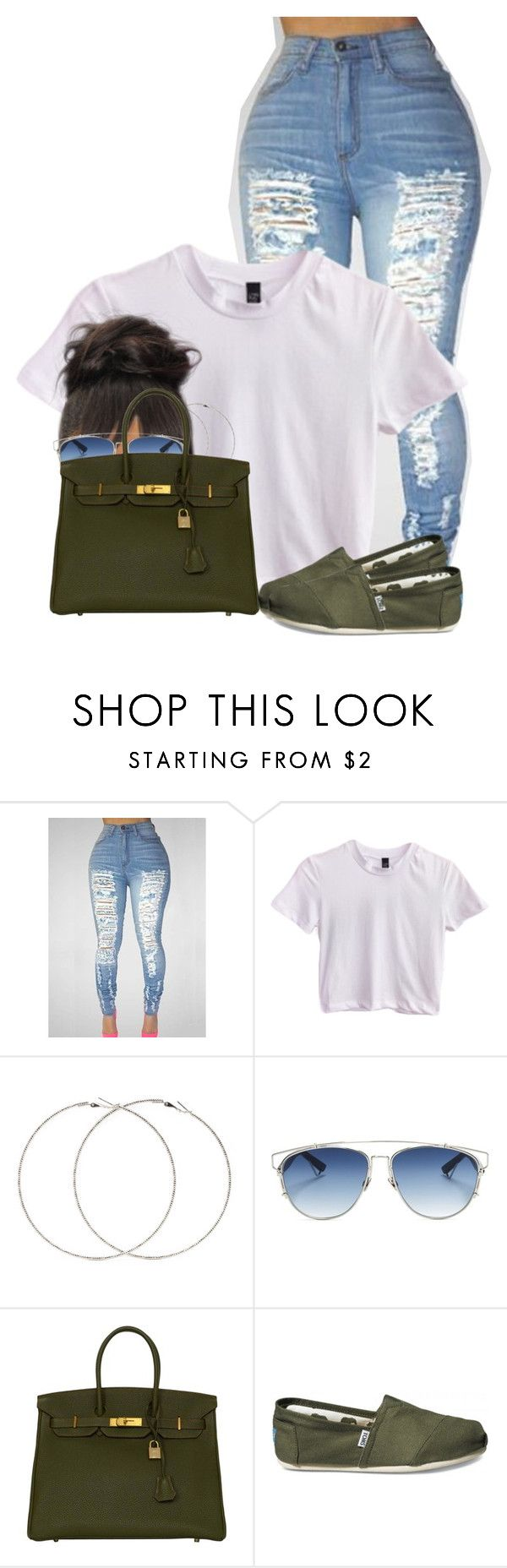 """""""Untitled #2615"""" by alisha-caprise ❤ liked on Polyvore featuring Forever 21, Christian Dior, Hermès and TOMS"""
