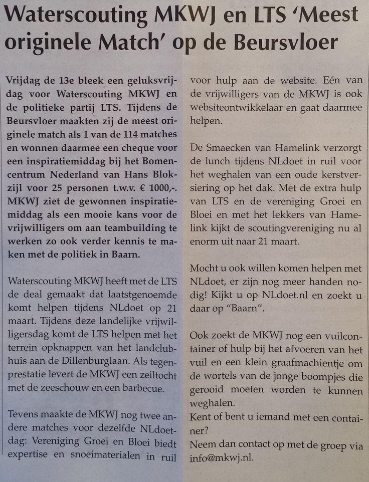 LTS Baarn is ook actief op de Beursvloer Baarn