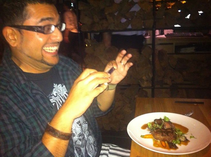 Steak-and-smile shot. Joyful thanks to bnerandom for the submission. #TriShakr #Moment #Trishaking #Foodie