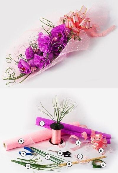 flores de papel crep y caramelos