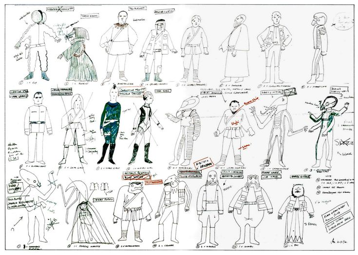 Costume designs by John Mollo for the Cantina patrons in Star Wars (1977).  One of the pivotal Star Wars scenes: everyone was talking about it afterwards, and no parody was complete without a nod to its colorful cast of shady weirdos and snorting creatures.