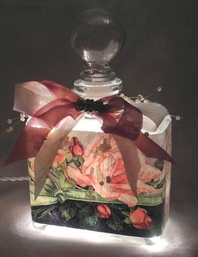 Green Ribbon Perfume Bottle Nightlight ( Night Light ) - Roses And Teacups