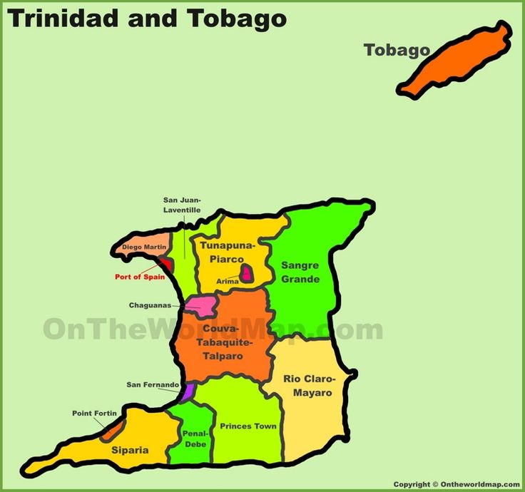 Administrative divisions map of Trinidad and Tobago