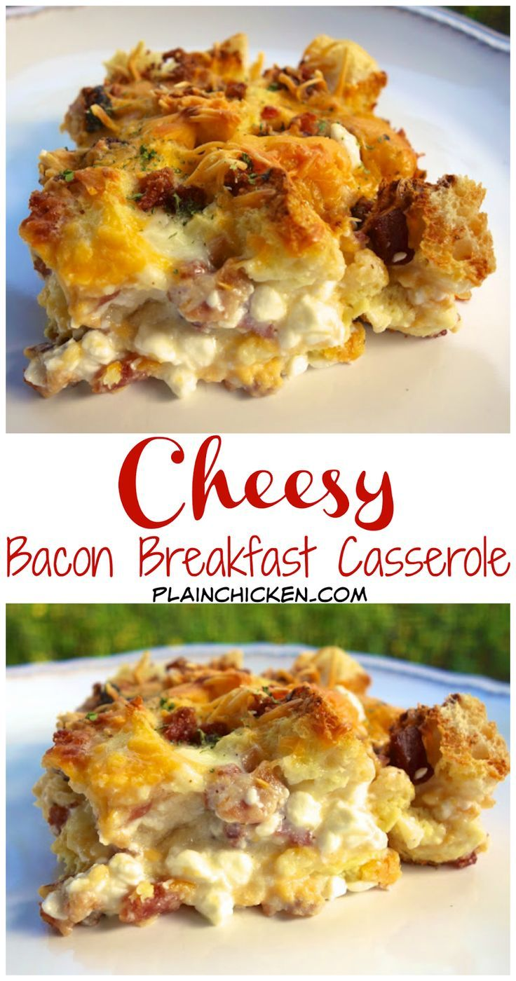 Cheesy Bacon Breakfast Casserole Recipe - bacon, Italian bread, cheddar, mozzarella, cottage cheese, milk, eggs, onion powder, ground mustard and pepper - Can make a head of time and refrigerate overnight. THE BEST breakfast casserole! Great for overnight