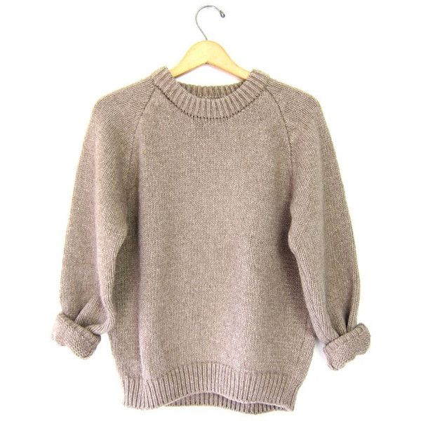 Thick Chunky 80s Sweater Oatmeal Brown Crewneck Raglan Knit Pullover... ($45) ❤ liked on Polyvore featuring tops, sweaters, knit pullover sweater, vintage 80s sweaters, brown knit sweater, 80s sweaters and 80s fashion
