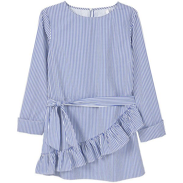 MANGO Striped Poplin Blouse ($30) ❤ liked on Polyvore featuring tops, blouses, blue ruffle blouse, embellished blouse, striped blouse, round top and long sleeve ruffle blouse