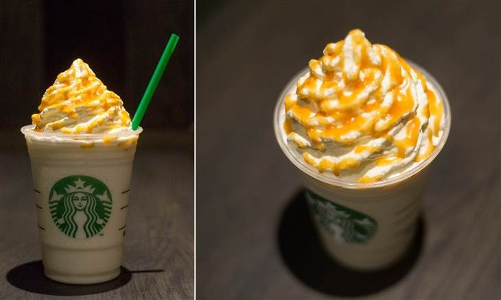 """Starbucks' """"Butterbeer Frappuccino"""" Not all Starbucks baristas will know how to make this one by name, so if you want this Harry Potter-inspired drink, you'll likely need to be a little specific. Order a grande Crème Frappuccino with whole milk, three pumps of caramel syrup, three pumps of toffee nut syrup and some caramel drizzle. Each sip will bring you closer to Hogsmeade."""
