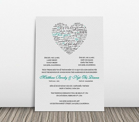 Printable Bilingual Vietnamese Wedding Invitation Set   Invitation,  Reception And RSVP   Diana Love Languages