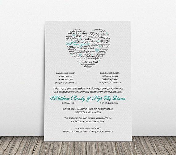 printable bilingual vietnamese wedding invitation set - invitation, Wedding invitations
