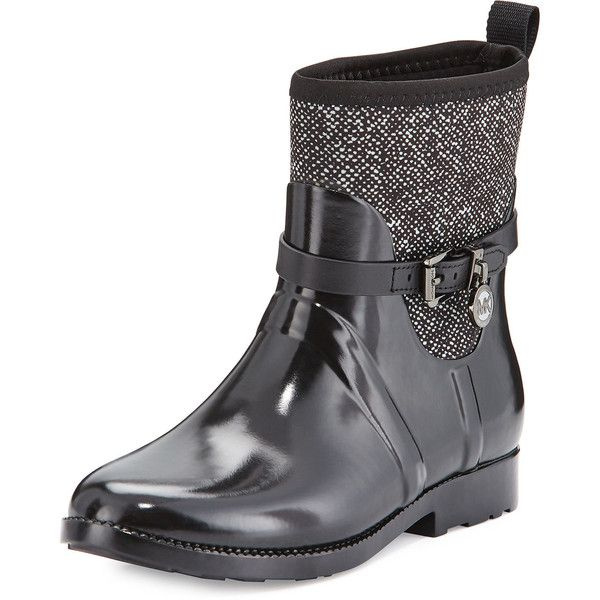 MICHAEL Michael Kors Charm Stretch Short Rain Boot ($140) ❤ liked on Polyvore featuring shoes, boots, ankle booties, ankle boots, black and white ankle boots, short booties, round toe ankle boots and rubber boots