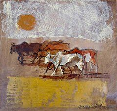 Nguni Cattle Paintings - African sun by Alida Bothma