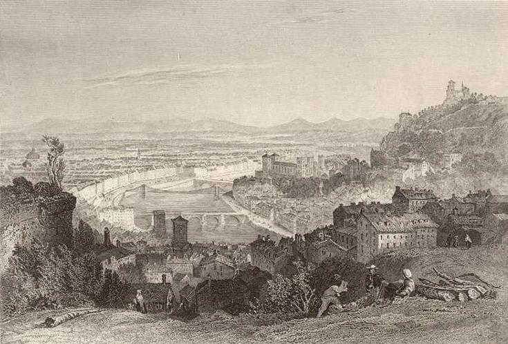 °Lyon en 1869 depuis la Croix-Rousse. gravure par Thomas Allom.