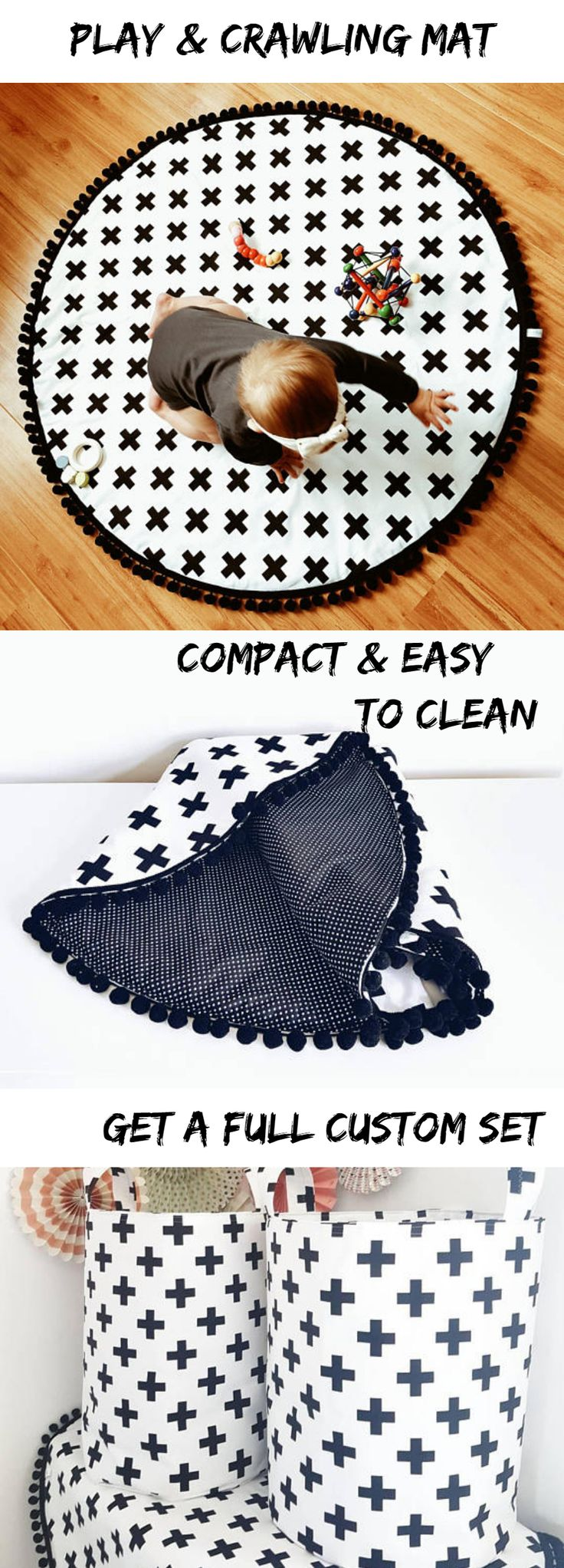"""A statement piece in modern nursery. Monochrome print playmat. Black and white swiss cross. On a reverse side small white dots on black. With a """"must have"""" black pom poms around the edges.Baby playmat can be also used as a rug in kids room. #kidsroom #play #playmat #crawling #nurserydecor #ad"""