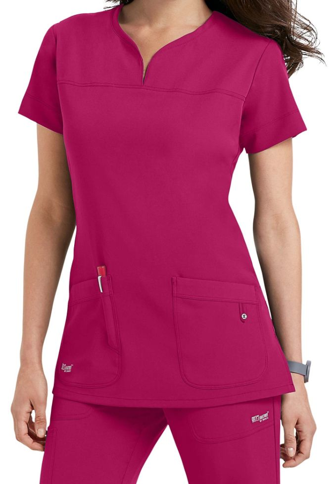 Greys Anatomy Signature 2 pocket scrub top. Main Image