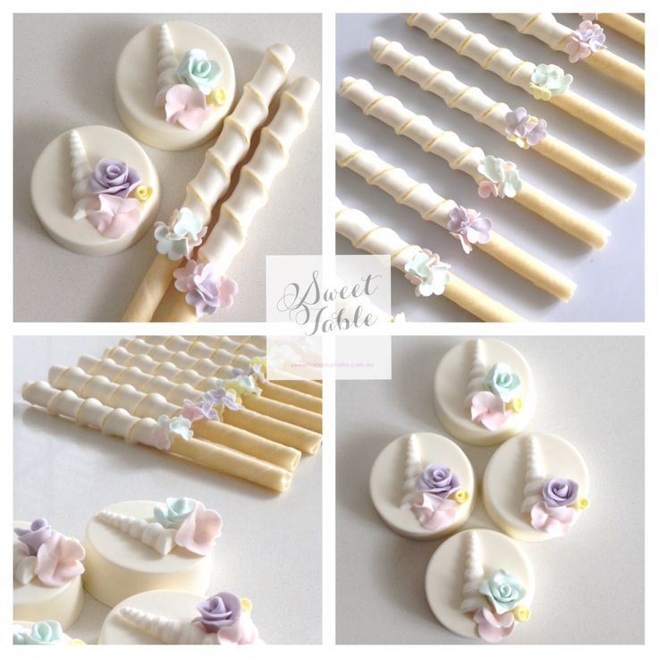 Chocolate coated Oreos and choc dipped wafer sticks for a Unicorn Garden Party themed event styled by Lily Chic Events