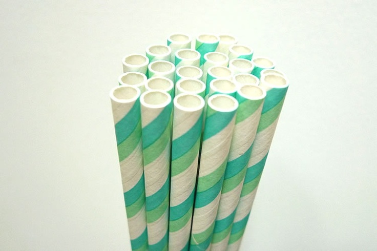 "Pretty aqua blue and green Paper Straws striped - great for Aqua or Green themed wedding, birthdays and anytime you need to add some colors to your party or get together!Pack of 25 aqua blue and green stripes straws7 3/4"" long Food safe & FDA Approved Earth Friendly & Bio-degradable Thickest Strongest Most Durable Made in USA $4.00"