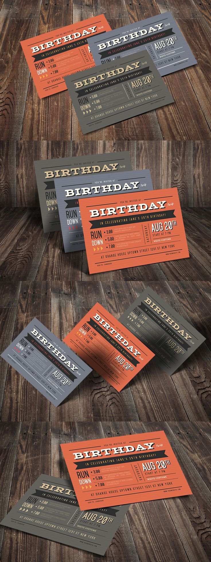Hipster Vintage Invitation Template AI PSD Best