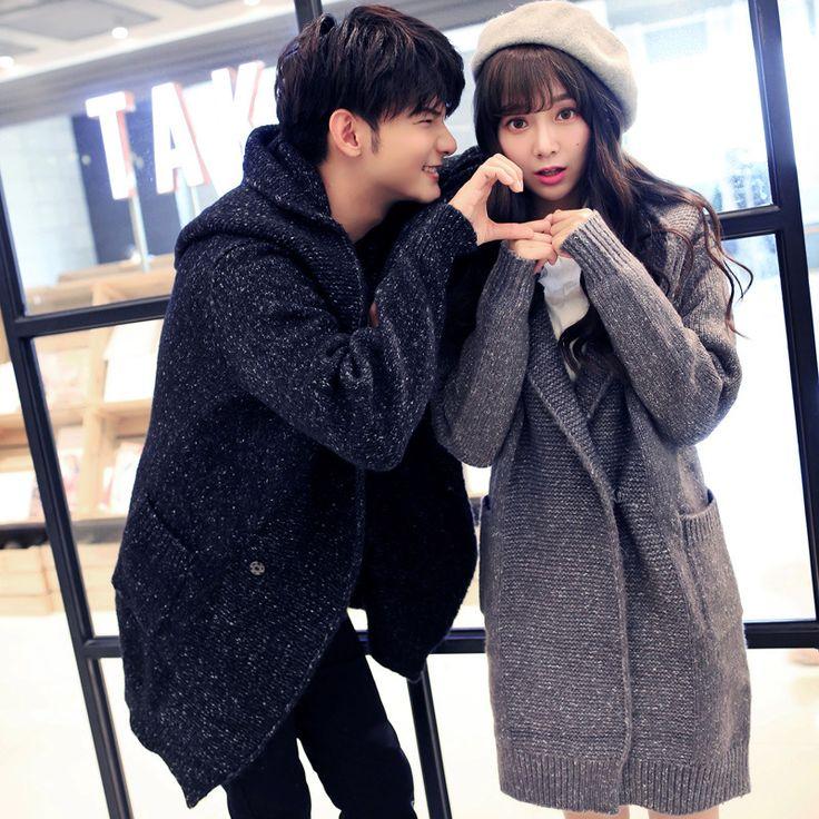 Men Women Long Sweater Coat Winter His-and-her Clothing Couple Knitted Cardigan Down Coat Fashion Korean Warm Windbreaker Jacket
