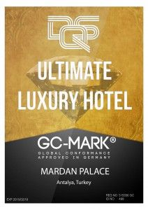 "The DQS UL Group is proud to announce Mardan Palace as the first bearer of the GC-Mark ""Ultimate Luxury Hotel"" in the Mediterranean. With this certification, Mardan Palace confirms its position as one of the leading luxury hotels in the world."