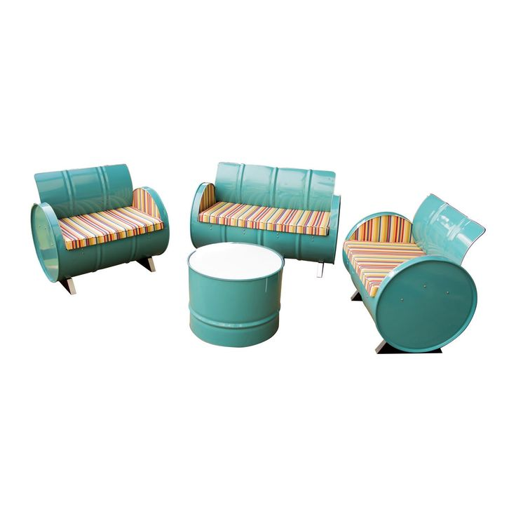 Drum Works Furniture Topsail Collection Loveseat and Chairs - Multi/Turquoise