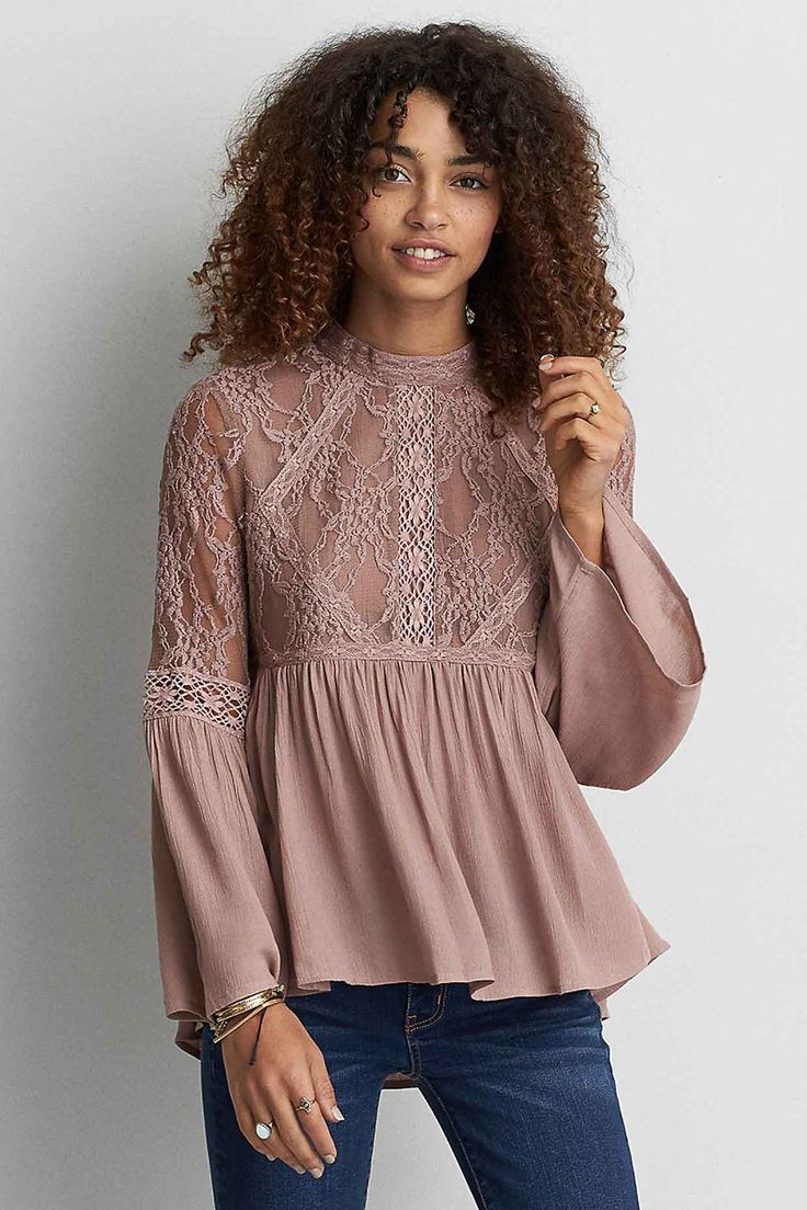 HI-NECK MESH LACE TOP - The Best Finds Under $100 at American Eagle Outfitters - Poor Little It Girl