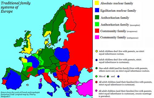 Traditional family systems of Europe, from the work of French anthropologist Emmanuel Todd.