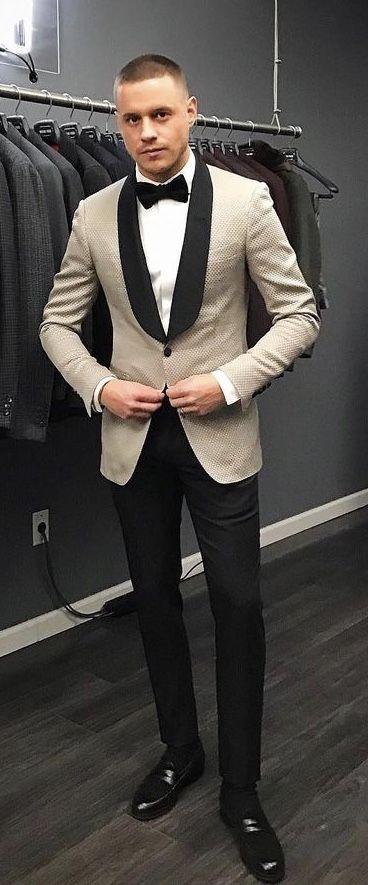 7899c2c3a53  aleksmusika - with a beige black shawl tuxedo jacket black bowtie white  button up shirt black trousers black socks black penny loafers  suit   menswear ...