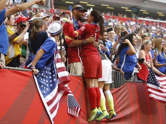 United States goalkeeper Hope Solo (1) celebrates with Husband