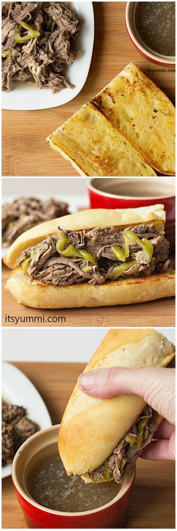 slow cooker Italian beef recipe - this is the best one pot meal I've ever eaten and it's perfect game day food! - Get the recipe from @itsyummi