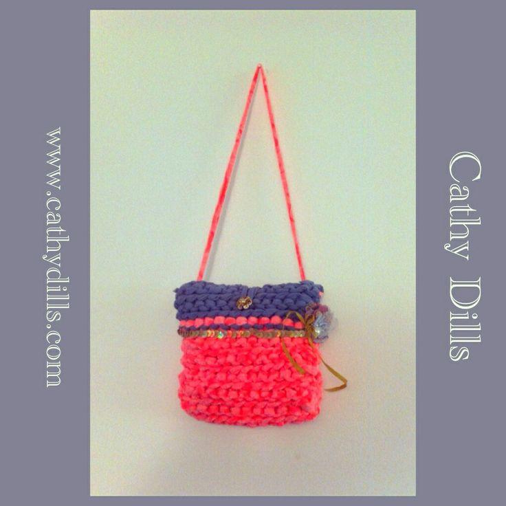 """Fluorescent pink handbag for girls"" by Cathy Dills.  www.cathydills.com"