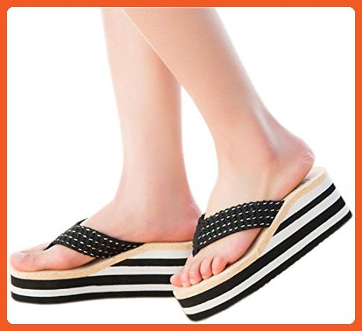Bettyhome Women Bohemian Style Rainbow High Heels Comfortable Thongs Casual Wedges Sandals Beach Flip Flops Slippers (8 B(M) US=EUR 39, black) - Sandals for women (*Amazon Partner-Link)