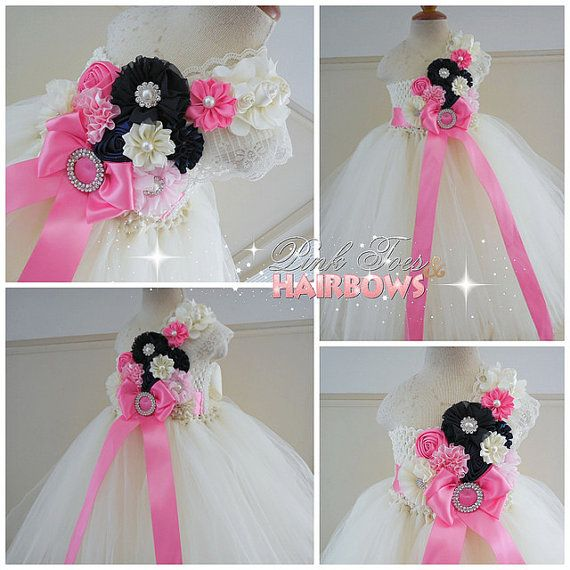 Ivory Flower girl dressIvory Navy and pink  door GlitterMeBaby