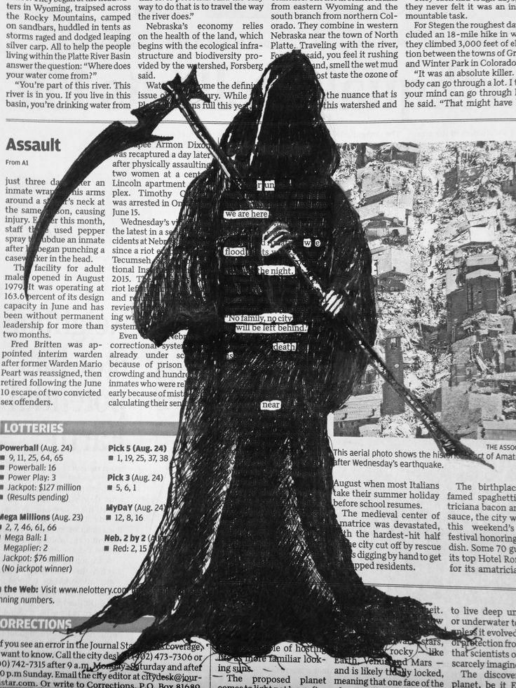 """Death is Near"""" Blackout Poetry, Pen, 9""""x7"""" : Art"""