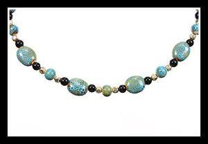 """Call Me Crafty"" Blue Glazed Ceramic  Necklaces Short, 17 Inches http://theceramicchefknives.com/ceramic-necklaces/"