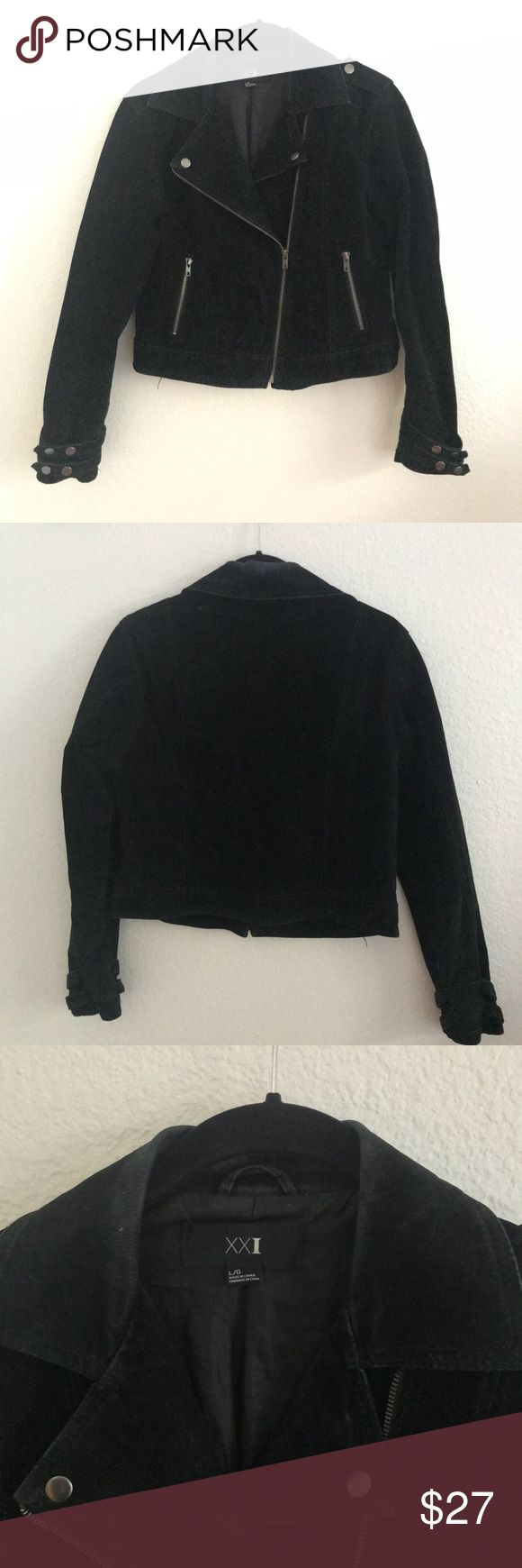 Suede Moto Jacket Forever 21 genuine suede moto jacket. 100% leather throughout. Full length sleeves with snap embellishment at cuffs. Front zip closure and pockets. Worn a number of times and has light wear on the collar. Otherwise excellent condition. Forever 21 Jackets & Coats