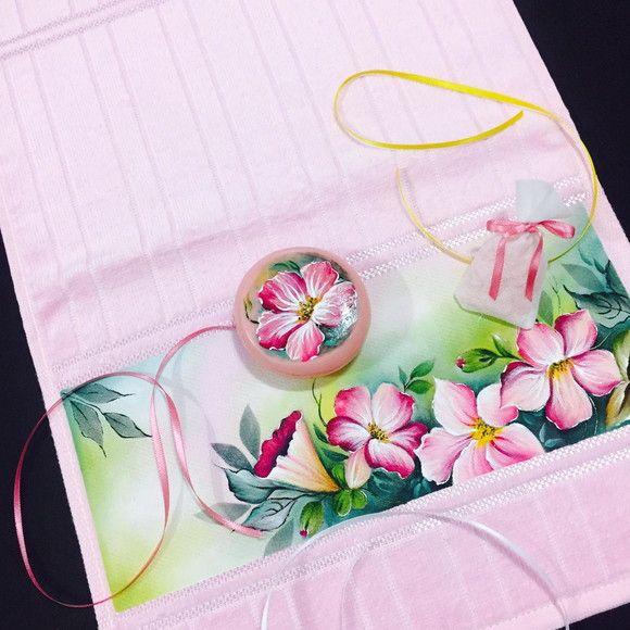 Kit toalha de lavabo pintada a mao