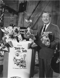 Walt Disney....  Toys for Tots has been around for a long time...  and the Best spokesperson Walt Disney......