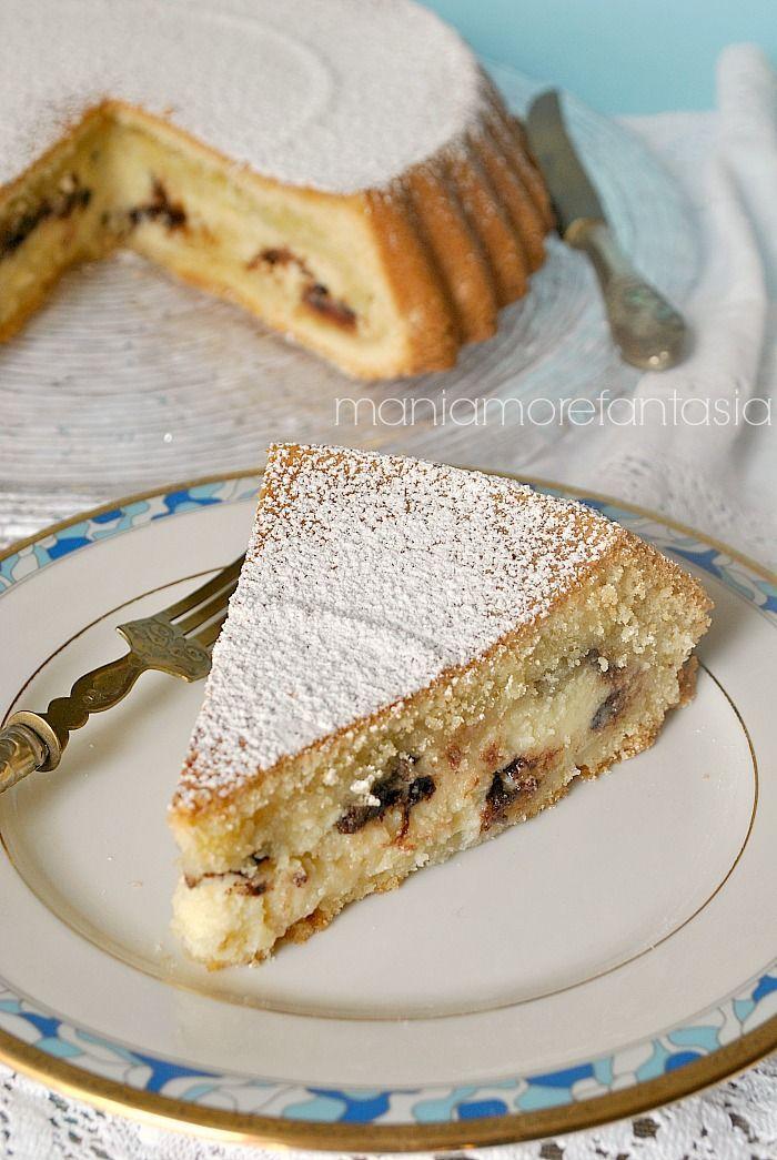 torta versata con crema di ricotta e cioccolato