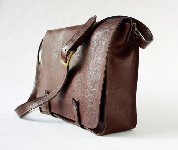 "MESSENGER BAG in dark brown leather/briefcases and attaches/15"" men's briefcase/leather  briefcase/laptop satchel/for him/for her"