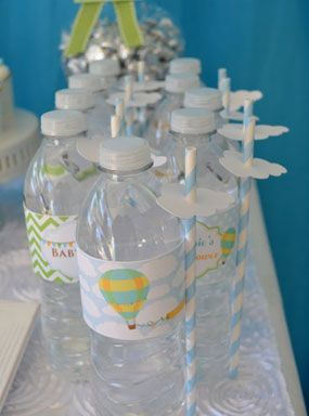 Blue Sky Hot Air Balloon Themed Fantasy Boy Baby Shower