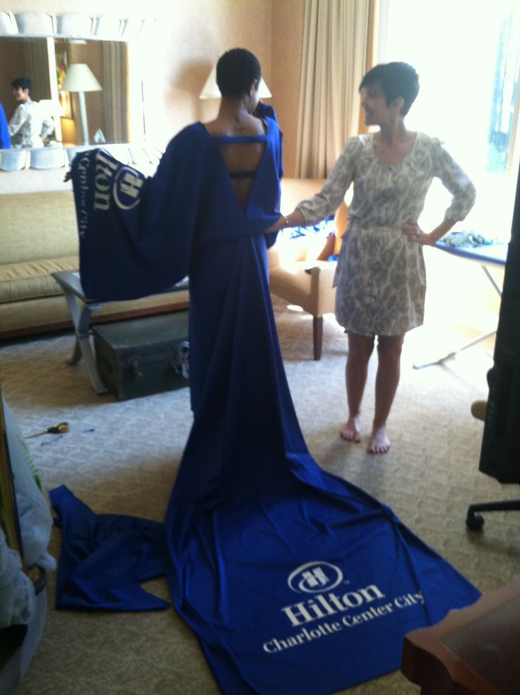 Sara Johnson Designs 2013 Recyclable Dress Made Of Table Covering For  Hilton Hotels