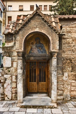 Kapnikarea church door in Plaka district, Athens, Greece Stock Photo