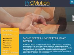 New listing in Sports Medicine Chiropractors added to CMac.ws. ProMotion Rehab and Sports Medicine in Lake City, SC - http://sports-chiropractors.cmac.ws/promotion-rehab-and-sports-medicine/576/