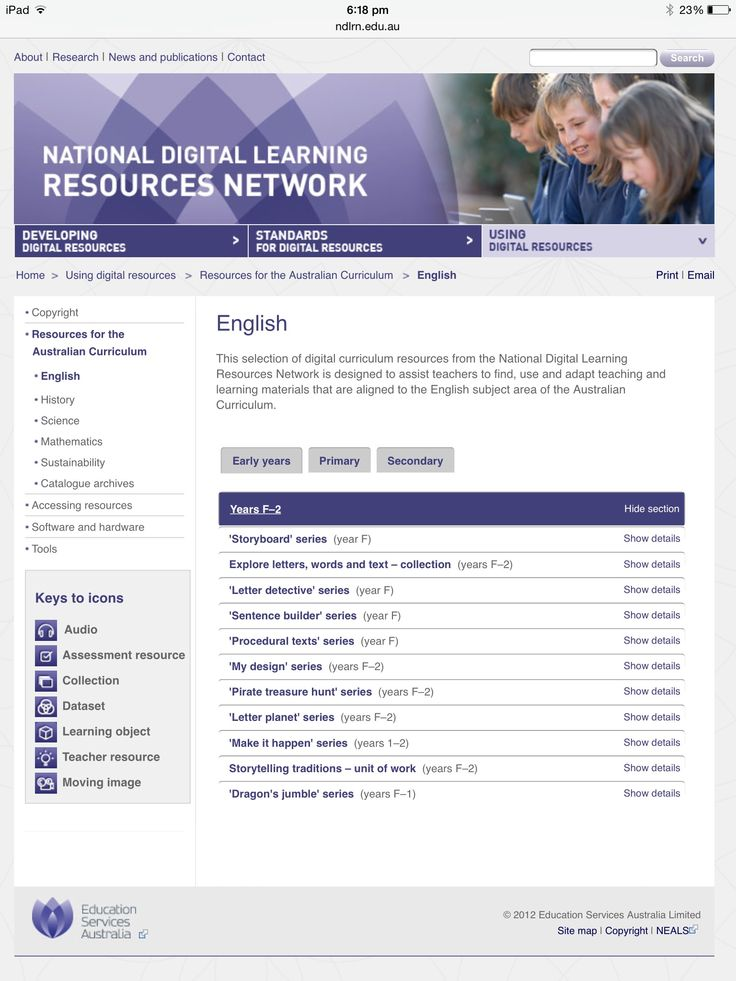 The NDLRN is a network of infrastructure  and processes that enables the management and distribution of the national collection of digital resources. This website is designed to assist teachers to find, use and adapt teaching and learning materials that are aligned to the English subject area of the Australian Curriculum.