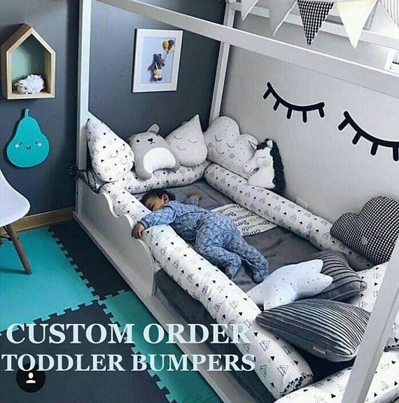 Custom order for Montessori bed bumpers, toddler bed lit montessori, house pillow, toddler bedding, crib pads, tipi bolster, bolster pillow
