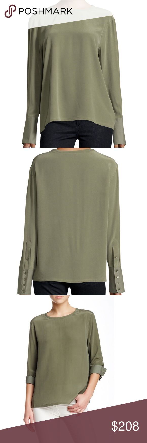 "🆕 EQUIPMENT oversized Liam silk blouse shirt BRAND NEW: Equipment olive green oversized LIAM silk blouse.   An effortless chic wardrobe staple. Long sleeve shirt is cut with oversized fit and features contrasting, extra long cotton sleeve cuffs. 100% silk ~26"" measured from shoulder Equipment Tops Blouses"