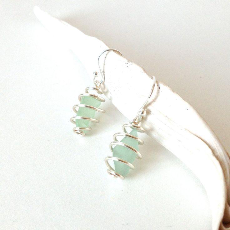 teal sea glass earrings // sea glass jewelry