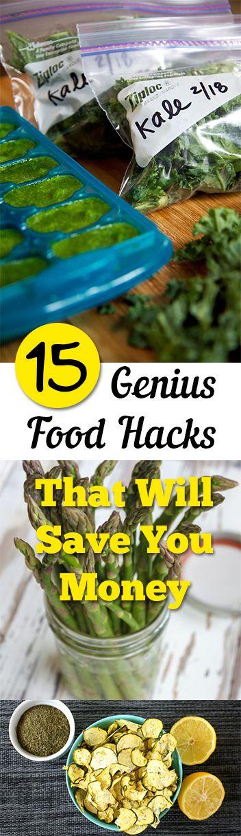 15 Genius Food Hacks That Will Save You Money. Tips, tricks, hacks, shopping hacks, money hacks, cleaning, life hacks, life tips.