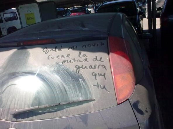 That someone write that sentence in your car.