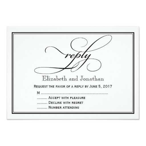 Christian Wedding RSVP Cards Navy Blue And White Script Reply Card
